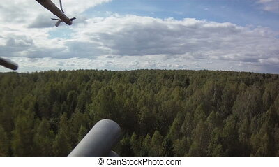 View on forest from helicopter - View from window of...