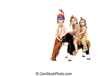 Brave and Squaws - Three children dressup as indians. Boy...