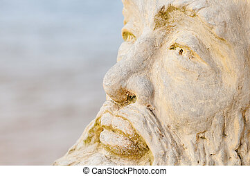 Face of mythological god Neptune with water on background