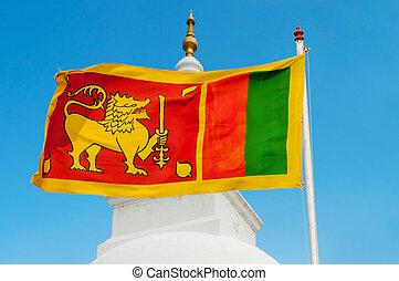 Sri Lanka flag on flagstaff - Sri Lanka flag on flagstaff...