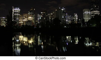 Calgary night reflection - The night skyline of Calgary...