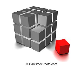 One individuality red cube on the white backround