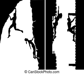 Free climbers - Set of editable vector silhouettes of free...