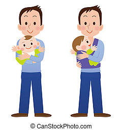 Cartoon father holding and playing with his baby
