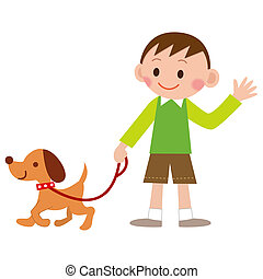 boy walking with his dog