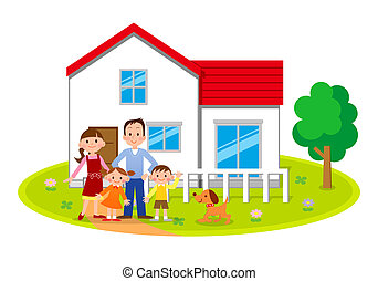 family in front of the house