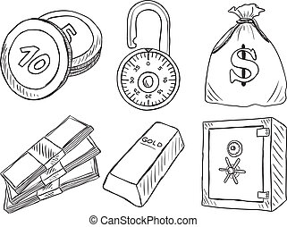 Illustration of money and safe - hand drawn style