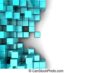 Cubes - Blue modern cubes over white background
