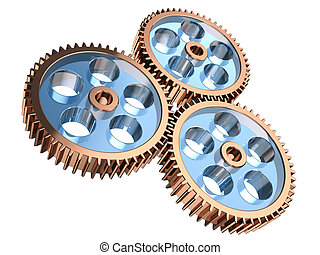 Gear system - Modern gears making system isolated on a white...