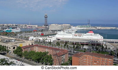 Barcelona traffic timelapse, cableway, ships, cars -...