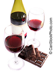 Two wine glasses of wine and chocolate - Two wine glasses of...