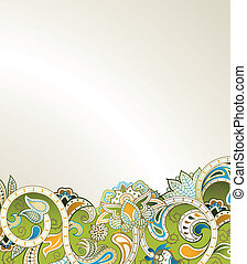 Abstract Green Floral Scroll