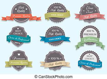 Premium Quality labels in retro colors Vector set