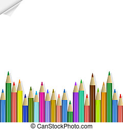 Vector background with colored pencils