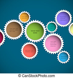 Colorful abstract gear wheels. Vector design template