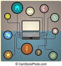 Concept of network. Vector illustration in retro colors