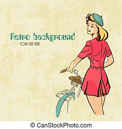 Retro background Young woman with bicycle - Vector...