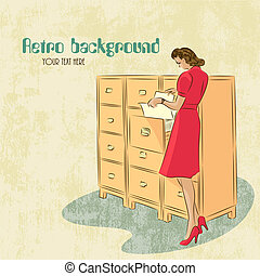 Retro background with woman secretary - Vector background...