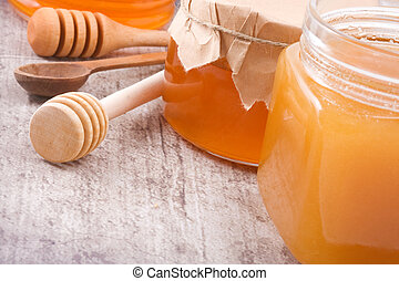 glass jars with honey