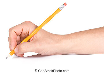 male hand and wood pencil - male hand writing yellow wood...