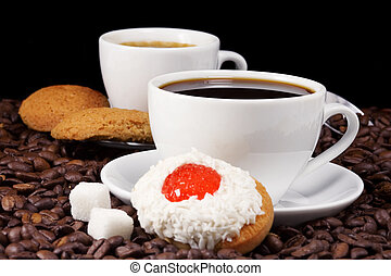 coffee and cookies on beans - cup of coffee and cookies on...