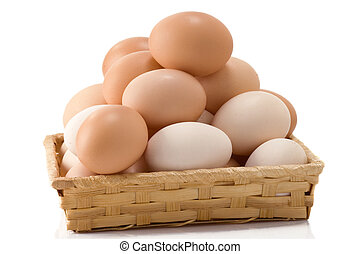 eggs in wicker basket on white background