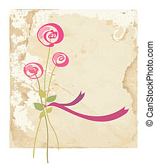 Greeting card with rose flower on paper background