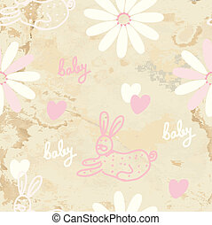 Baby retro seamless background with paper texture