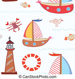 Sea travel seamless pattern for kids