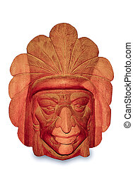 The Carving wood mask of Native indian isolated on white background