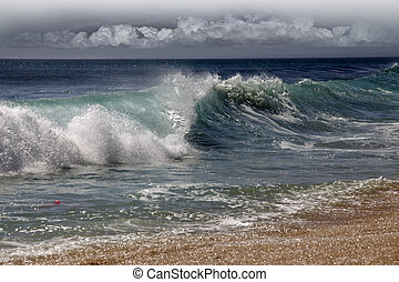 Indian ocean - Big wave crashes on to the shore. Indian...