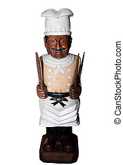 The Carving wood of chef isolated on white background