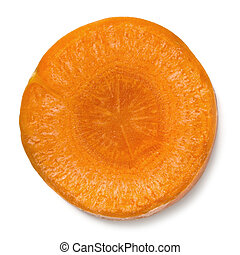 Slice of Carrot Isolated - Single slice of carrot, isolated...