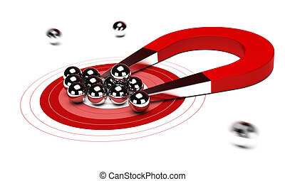 red horseshoe magnet attracting some chrome balls, white...