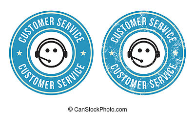 Customer service retro badges - Call centre blue vintage...