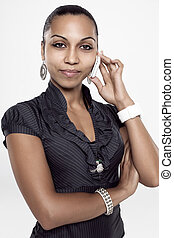 young girl talking on mobile phone - Closeup portrait of a...