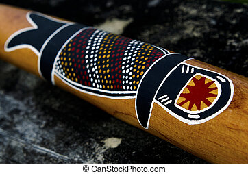 Australian Didgeridoo - Aboriginal artwork on an Australian...
