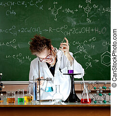 pazzo, professore, prese, esperimento