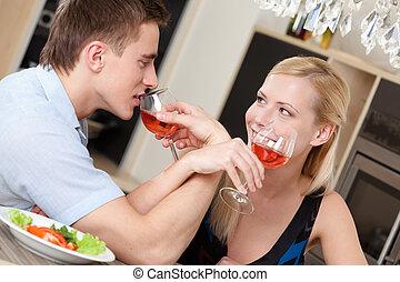 casado, par, tem, namorando, Ceia