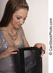woman with purchase bag