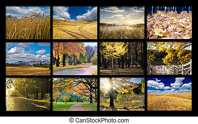 Mosaic from autumn photos - Set of autumn landscapes on a...