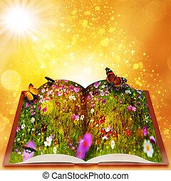 hada, magia, libro, Extracto, fantasía, fondos, B