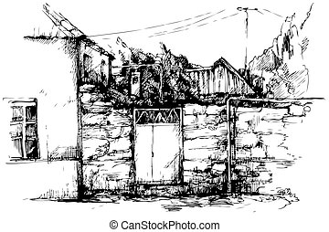 provincial small town landscape house gate in a fence fence