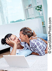 Flirtation - Image of young guy and his girlfriend having...