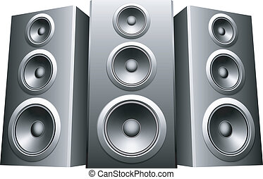 Speakers. - Three big speakers in a row.