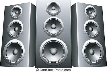 Speakers. - Three big speakers in a row.