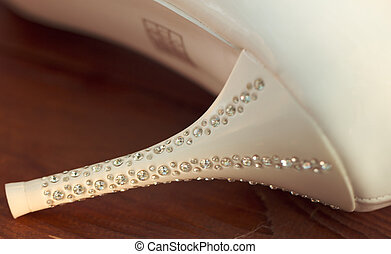 Heel with rhinestones bridal shoes closeup