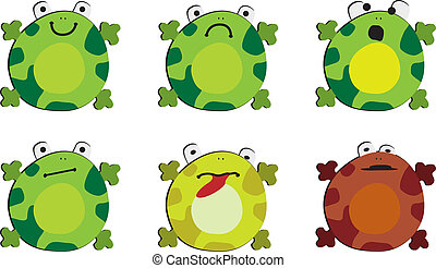 The emotions of frog - Six drawings of the frog on white...