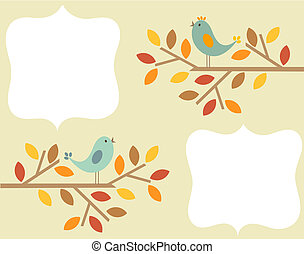 Autumn birds frame - Autumnal birds singing - vintage frame...