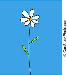 Single white flower on blue background